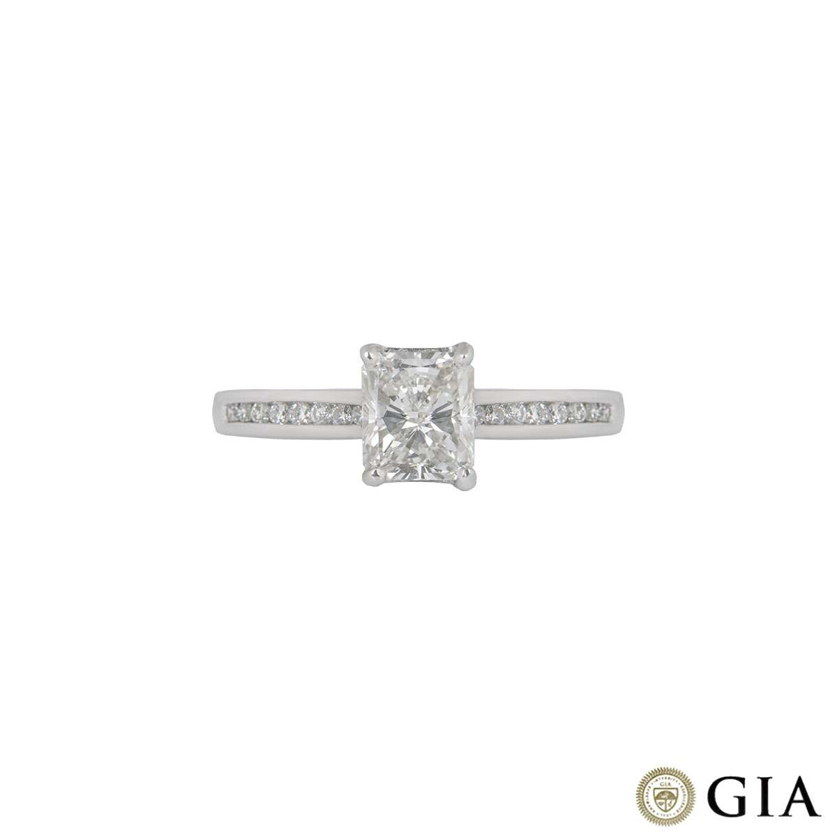 White Gold Radiant Cut Diamond Ring 1.01ct H/SI1